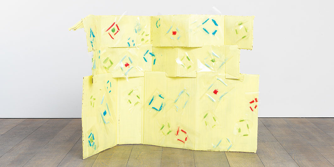 "Karla Black, Diamond Hard, 2013, cardboard, paint, petroleum jelly, cellophane, overall 44 1⁄8 × 57 7⁄8 × 33 1⁄2""."