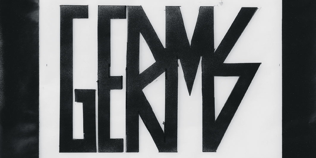 "Steven Parrino, Germs, 1994, enamel and graphite on vellum, 15 × 18 1⁄2""."