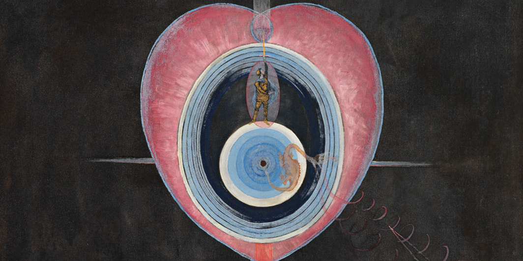 "Hilma af Klint, Grupp IX/UW, Duvan, nr 9 (Group IX/UW, The Dove, no. 9), 1915, oil on canvas, 60 3⁄8 × 50 1⁄4"". © Hilma af Klint Foundation."