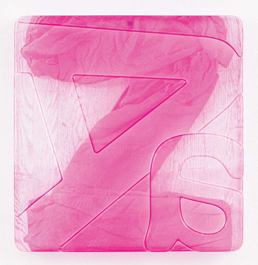 "Thomas Locher, Lumpenalphabet (Z), 2019, silk screen on acrylic glass, 18 7⁄8 × 18 7⁄8 × 2"". From the series ""Lumpenalphabet,"" 2019."
