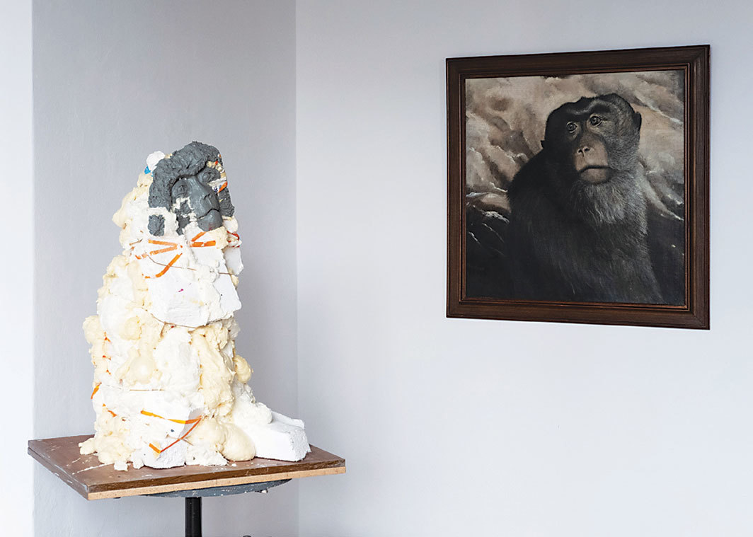 "View of ""I'm About to Go Berserk,"" 2019. From Left: Zuzanna Janin, Monkey (Femmage a Maria Anto), 2018; Maria Anto, Blue-Eyed, 1975."