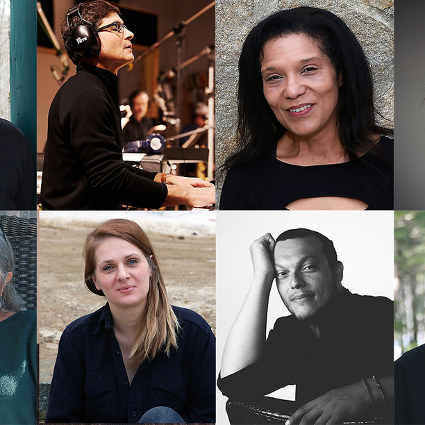 Incoming artists (clockwise from top left) playwright Madeleine George, composer Mike Holober, poet Ruth Ellen Kocher, playwright Haruna Lee, poet Dennis Nurkse, poet Charif Shanahan, visual artist Ellen Lesperance, and writer Joyce Zonana. Courtesy of the MacDowell Colony.