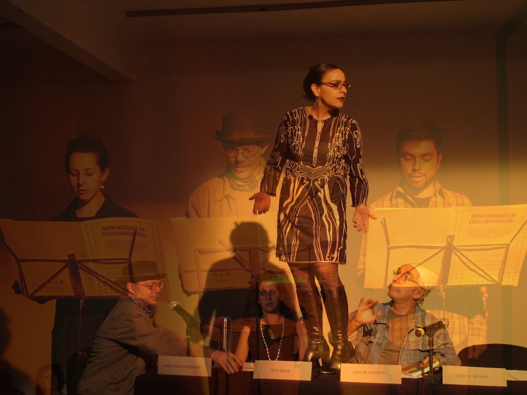 Camel Collective, The Second World Congress of Free Artists, 2010–. Performance view, Casa del Lago, Mexico City, 2013. Elsy Jimenez, Alonso Navarro, José María Negri, Jacqueline Serafín, and Gastón Yanes. © 2020 Camel Collective.