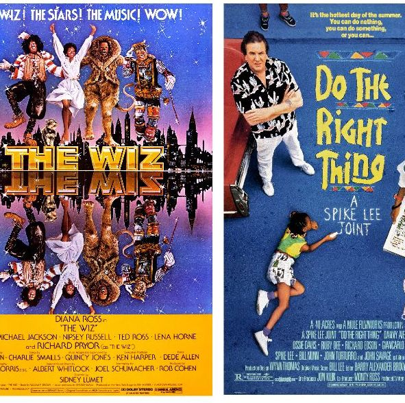 Film posters for The Wiz, 1978, and Do the Right Thing, 1989; from the Separate Cinema Archive. Courtesy of the Lucas Museum of Narrative Art.