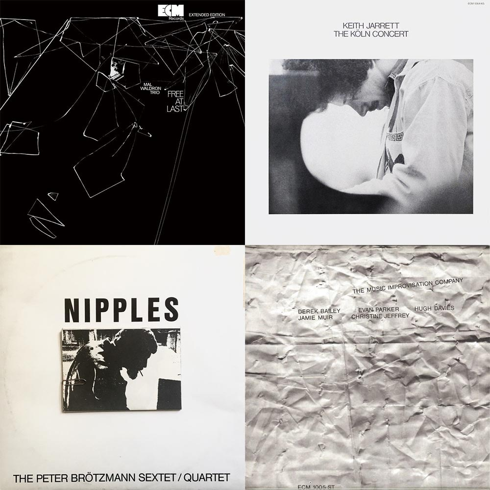 ECM covers, clockwise: Mal Waldron Trio's Free at Last (1969); Keith Jarrett's The Koln Concert (1975); The Music Improvisation Company's The Music Improvisation Company (1970). Bottom left: The Peter Brötzmann Sextet's Nipples (Calig; 1969).