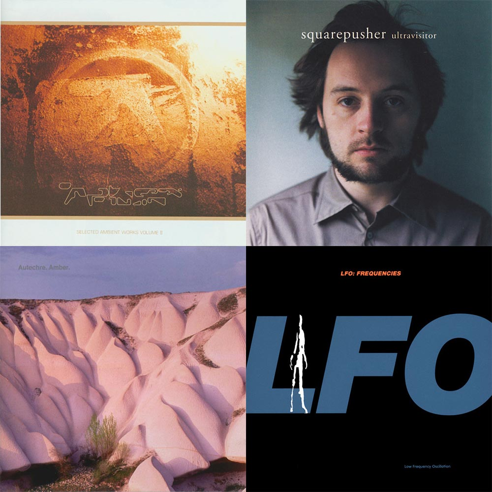 Warp Covers, clockwise: Aphex Twin's Selected Ambient Works Volume II (1994), Squarepusher's Ultravisitor (2004); LFO's Frequencies (1991); Autechre's Amber. (1994).