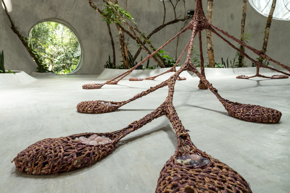 "View of Ernesto Neto's Every Tree Is a Civilizing Entity in SFER IK'S ""Alliga"" exhibition."