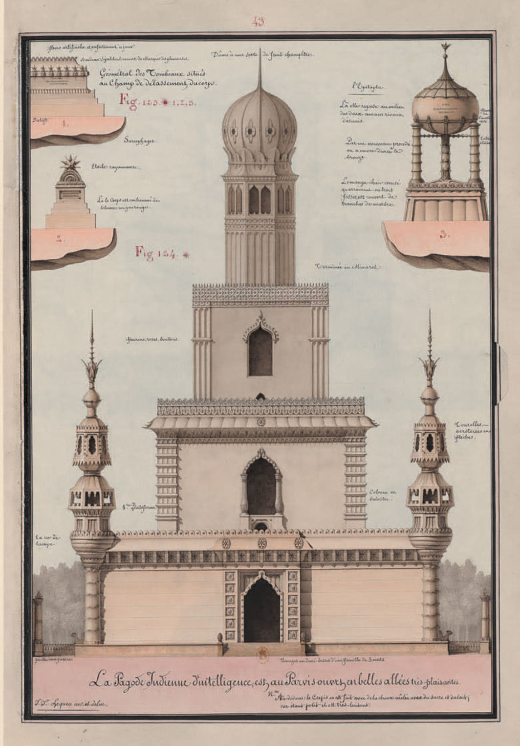 "Jean-Jacques Lequeu, Pagode indienne d'intelligence et tombeaux (Indian Pagoda of Intelligence and Tombs), 1777–1825, pen, ink, wash, and watercolor on paper, 17 1⁄2 x 12 1⁄8"". From ""Architecture civile"" (Civil Architecture), 1777–1825."