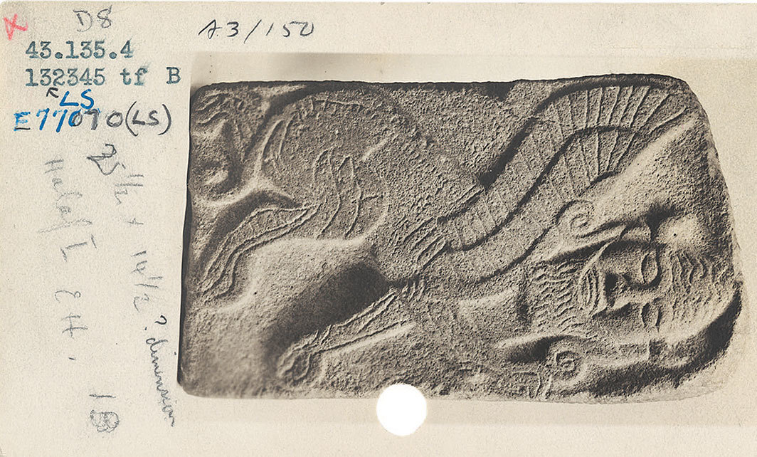 1943 catalogue card of Neo-Hittite orthostats from Tell Halaf, Syria, 10th–9th century BCE, Metropolitan Museum of Art, New York.