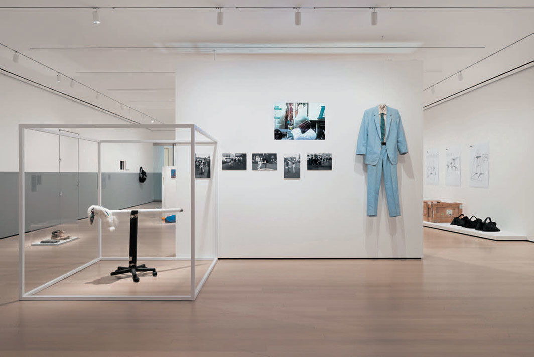 "View of ""member: Pope.L, 1978–2001,"" 2019–20, Museum of Modern Art, New York. Center: Member a.k.a. Schlong Journey, 1996. Photo: Martin Seck. © Pope.L."