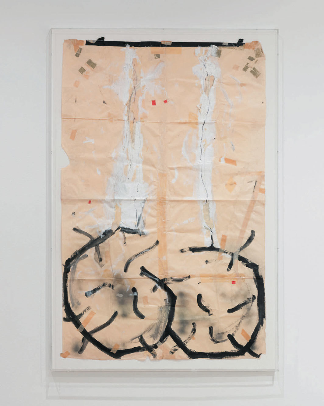 "Pope.L, Egg Eating Contest (Basement version), 1990, acrylic, pressure-sensitive tape, spray paint, and ballpoint pen on paper, 65 1⁄2 × 42"". © Pope.L."