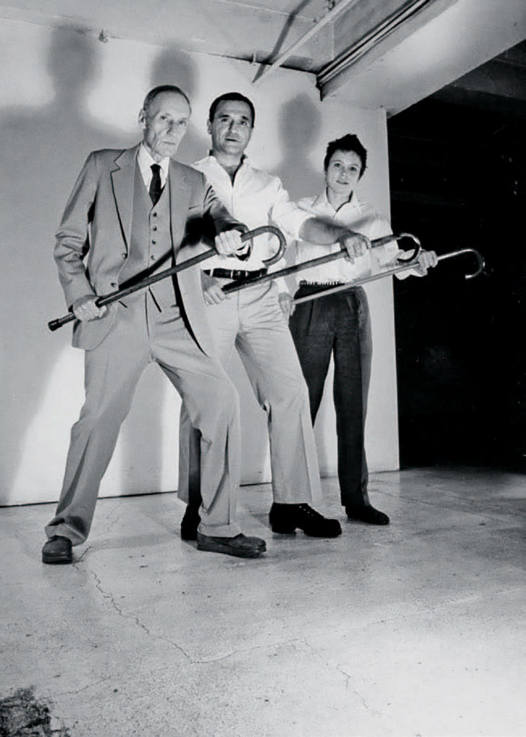 William S. Burroughs, John Giorno, Laurie Anderson, New York, 1981. From the album art for Laurie Anderson, John Giorno, and William S. Burroughs's You're the Guy I Want to Share My Money With (Giorno Poetry Systems, 1981). Photo: Jimmy DeSana.