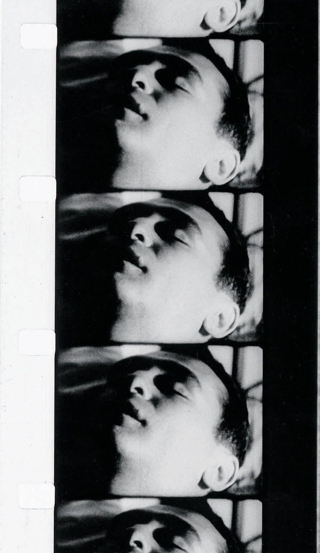 Film strip from Andy Warhol's Sleep, 1963, 16 mm, black-and-white, silent, 321 minutes. John Giorno. © The Andy Warhol Foundation forthe Visual Arts, Inc./Artists Rights Society (ARS), New York; CNAC/MNAM/Dist. RMN-Grand Palais/Art Resource, NY.