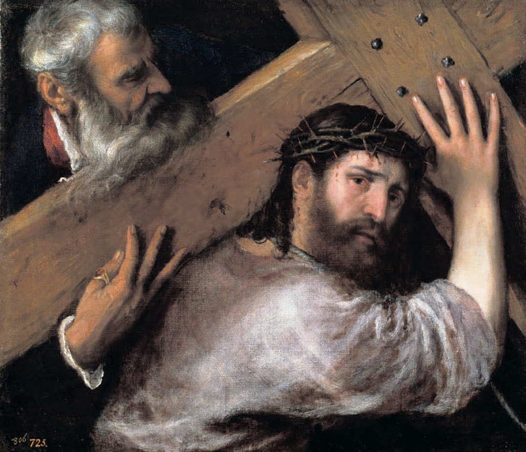 "Titian, Christ Carrying the Cross, ca. 1565, oil on canvas, 26 3⁄8 × 30 1⁄4""."
