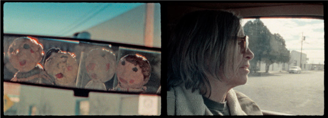 Two stills from Eileen Myles's The Trip, 2019, Super 8, color, sound, 17 minutes 9 seconds.