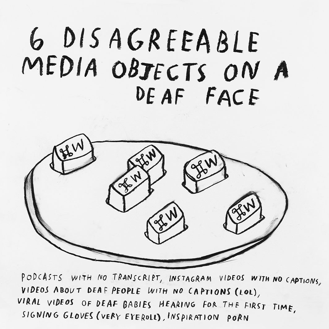 "Christine Sun Kim, 6 Disagreeable Media Objects on a Deaf Face, 2019, charcoal and oil pastel on paper, 16 1⁄2 × 16 1⁄2""."