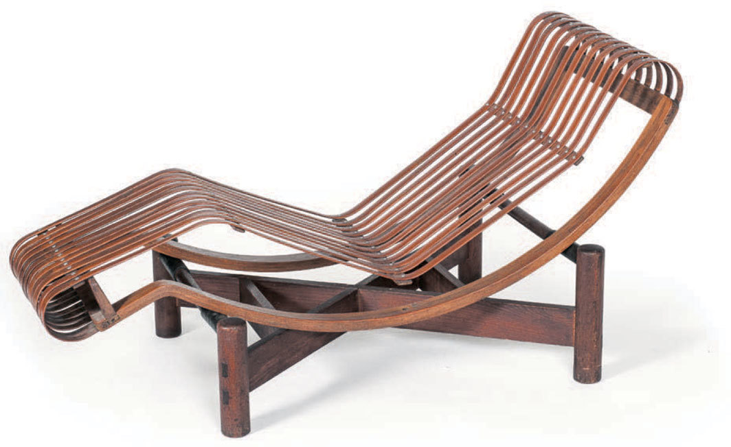 "Charlotte Perriand, Chaise longue basculante bamboo (Bamboo adjustable reclining chaise longue), 1940, bamboo, oak, beech, 29 1⁄8 × 55 1⁄8 × 20 1⁄2"". © F.L.C./ADAGP, Paris; © ADAGP, Paris; © AChP."