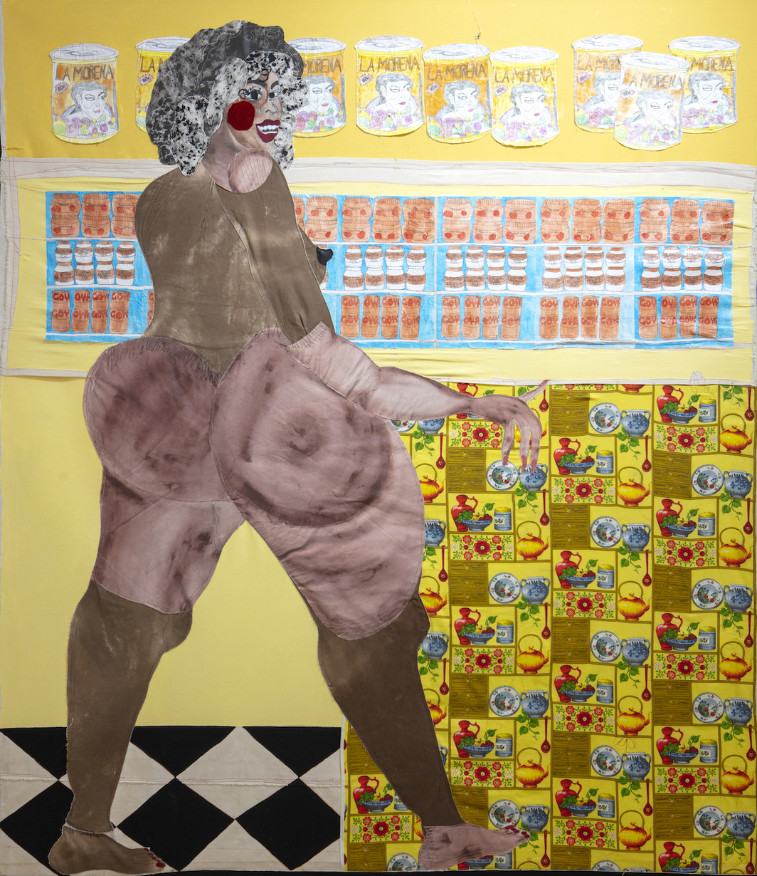 "Tschabalala Self, Ol' Bay, 2019, painted canvas, fabric, digital rendering on canvas, hand colored photocopy, photocopy, paper, Flashe, gouache and acrylic on canvas, 96 × 84""."