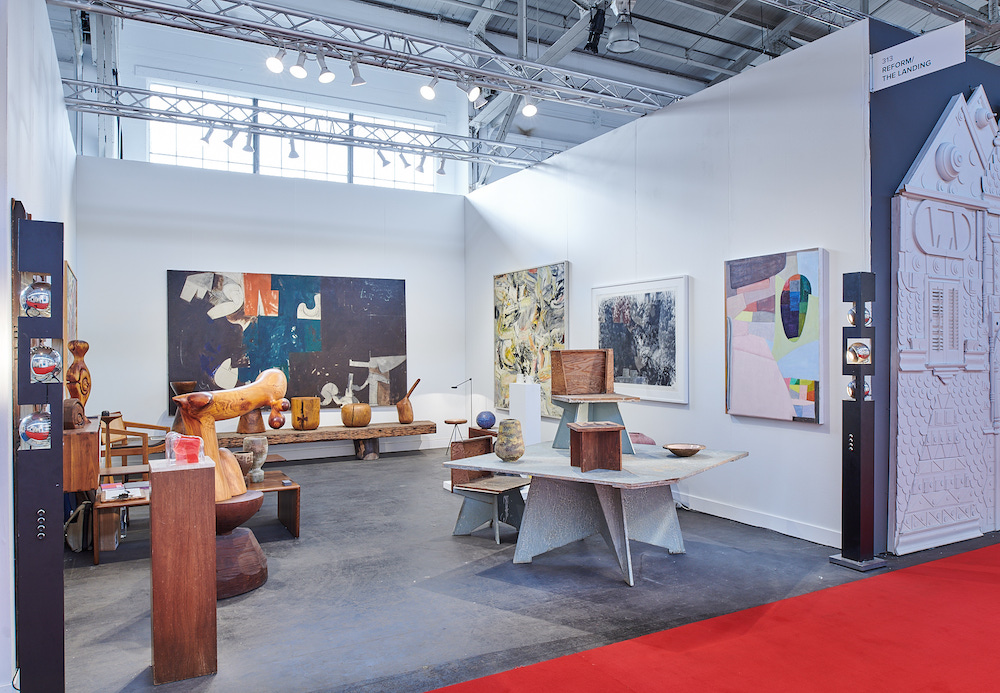 View of Reform/The Landing's booth, 2020, Festival Pavilion, Fort Mason Center for Arts & Culture, San Francisco. Photo: Arthur Kobin.