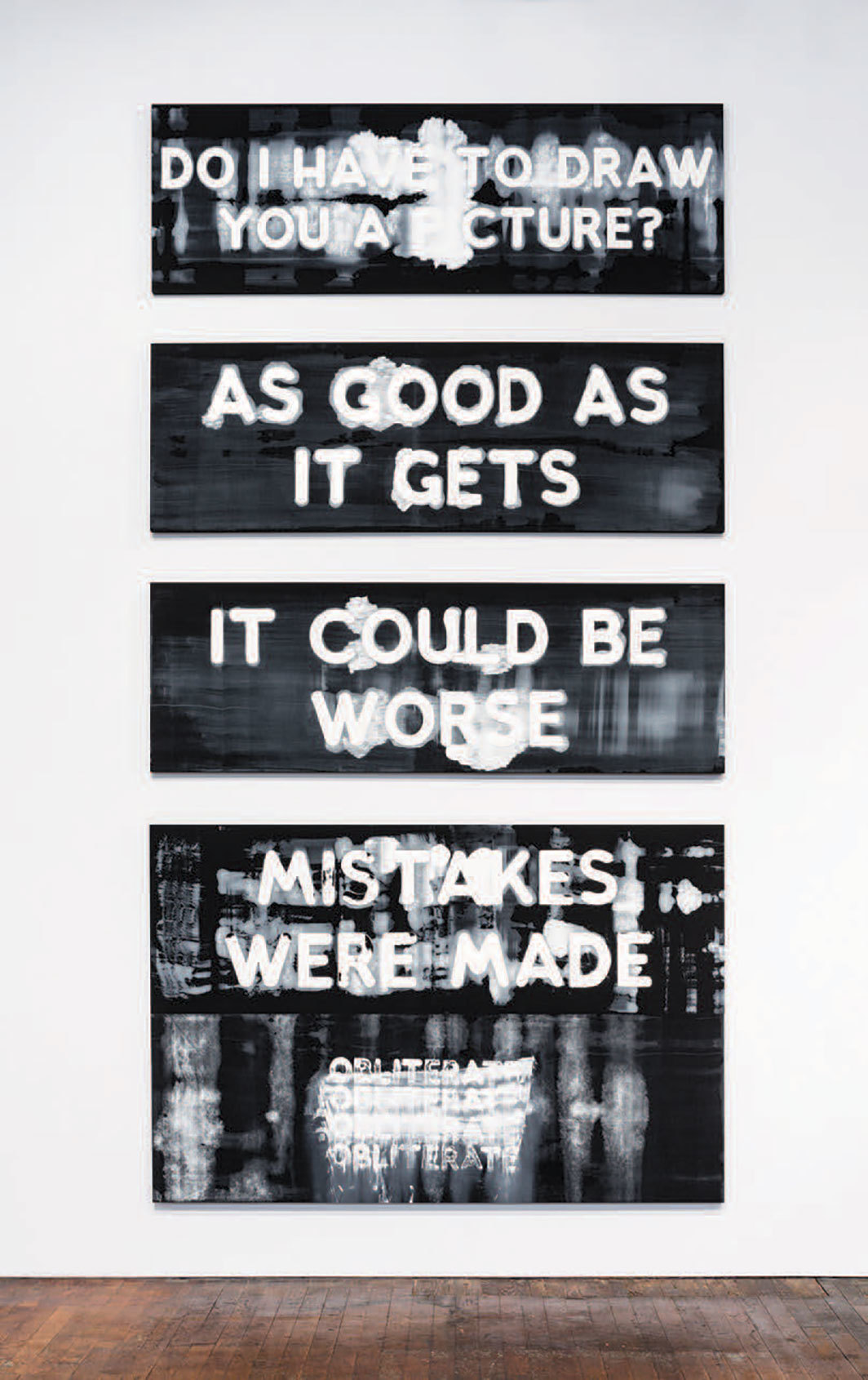 "Mel Bochner, Exasperations, Column A, 2017–19, four panels, oil on velvet, overall 15' 3 5⁄8"" × 7' 5 1⁄2""."
