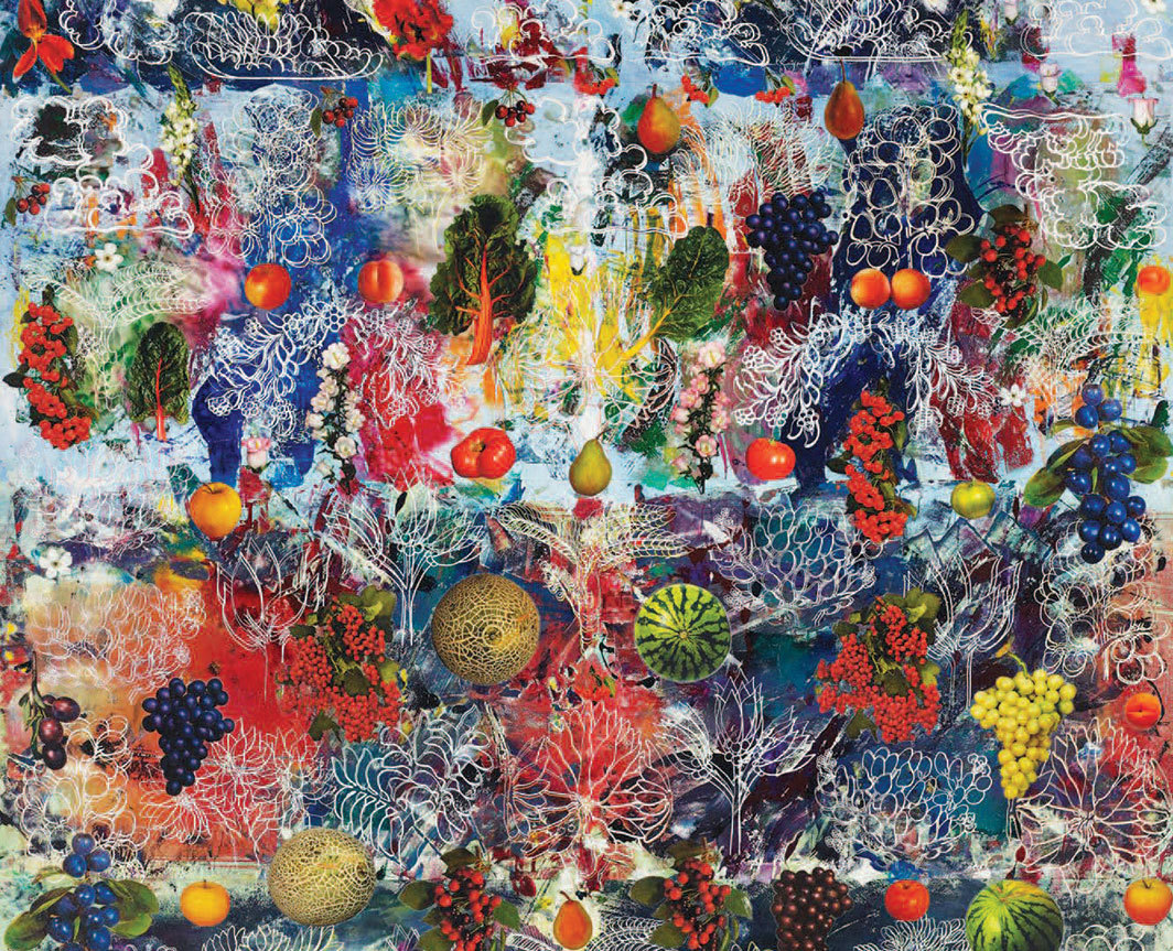 "Philip Taaffe, Altarpiece (detail), 2018, mixed media on canvas, 102 × 75 5⁄8""."