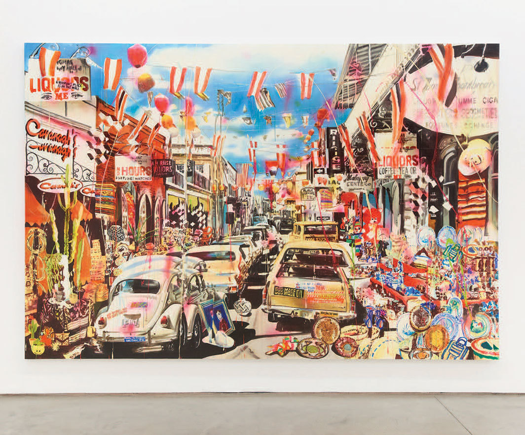 Rosson Crow, After the Rapture (Border Town), 2019, acrylic, spray paint, oil, enamel, and photo transfer on canvas, 8 × 12'.