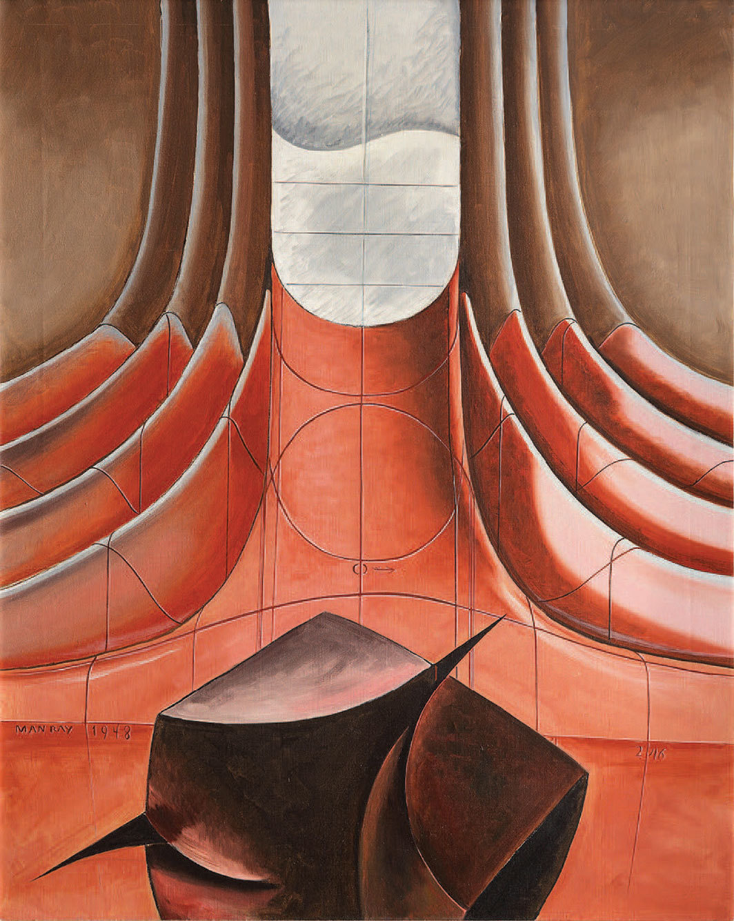 "Man Ray, Macbeth, 1948, oil on canvas, 29 7⁄8 × 24 1⁄8"". From the series ""Shakespearean Equation,"" 1948–54."
