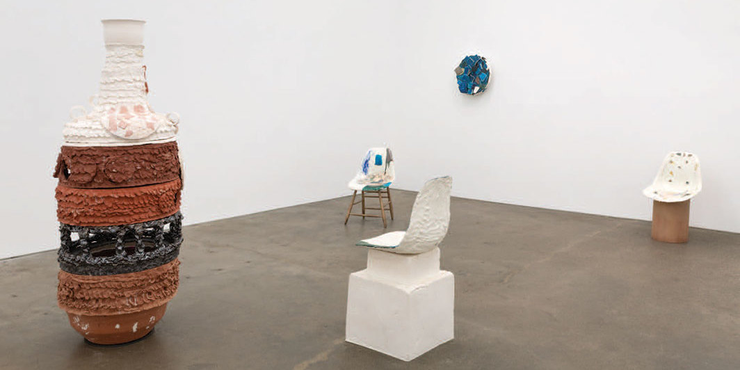 "View of ""Nicole Cherubini,"" 2019. Foreground from left: Red One, Athena, 2019; Chair 1—blue VW bus, 2019. Background from left: Chair 5—turquoise with shard, 2019; Deep Blue Sea, 2019; Chair 4, 2019."