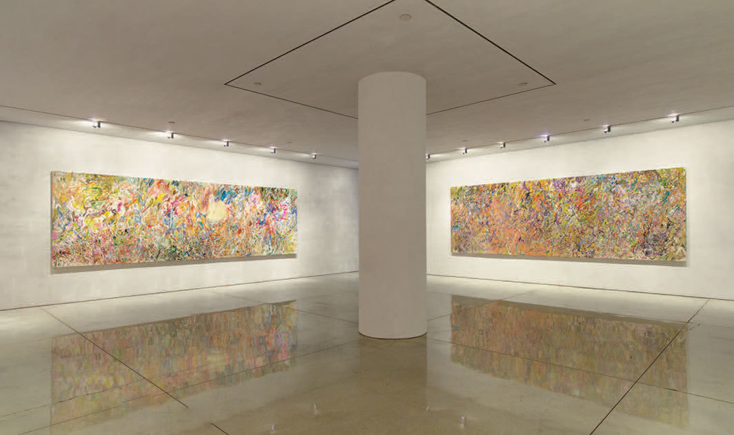 "View of ""Larry Poons,"" 2019. From left: For ""Glenda"", 2019; Things Minus People (Kubrick), 2018."