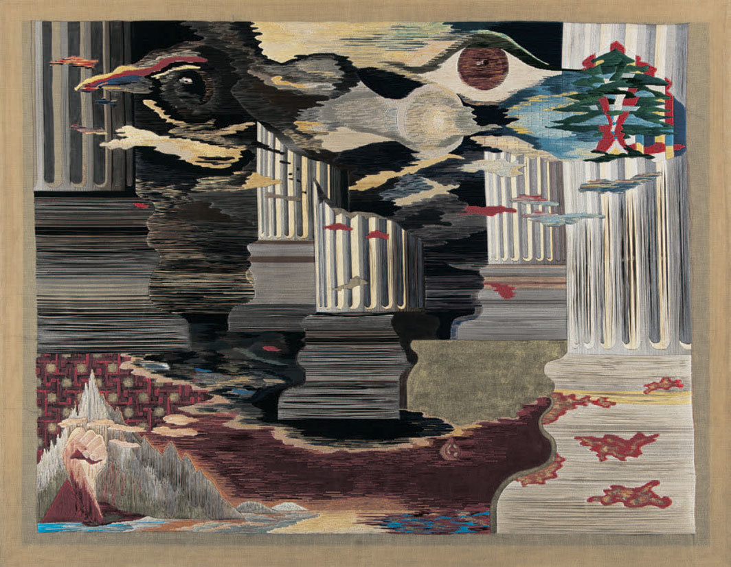 "Nicolas Moufarrege, Le sang du phénix (The Blood of the Phoenix), 1975, thread and pigment on needlepoint canvas, 49 7⁄8 × 64""."