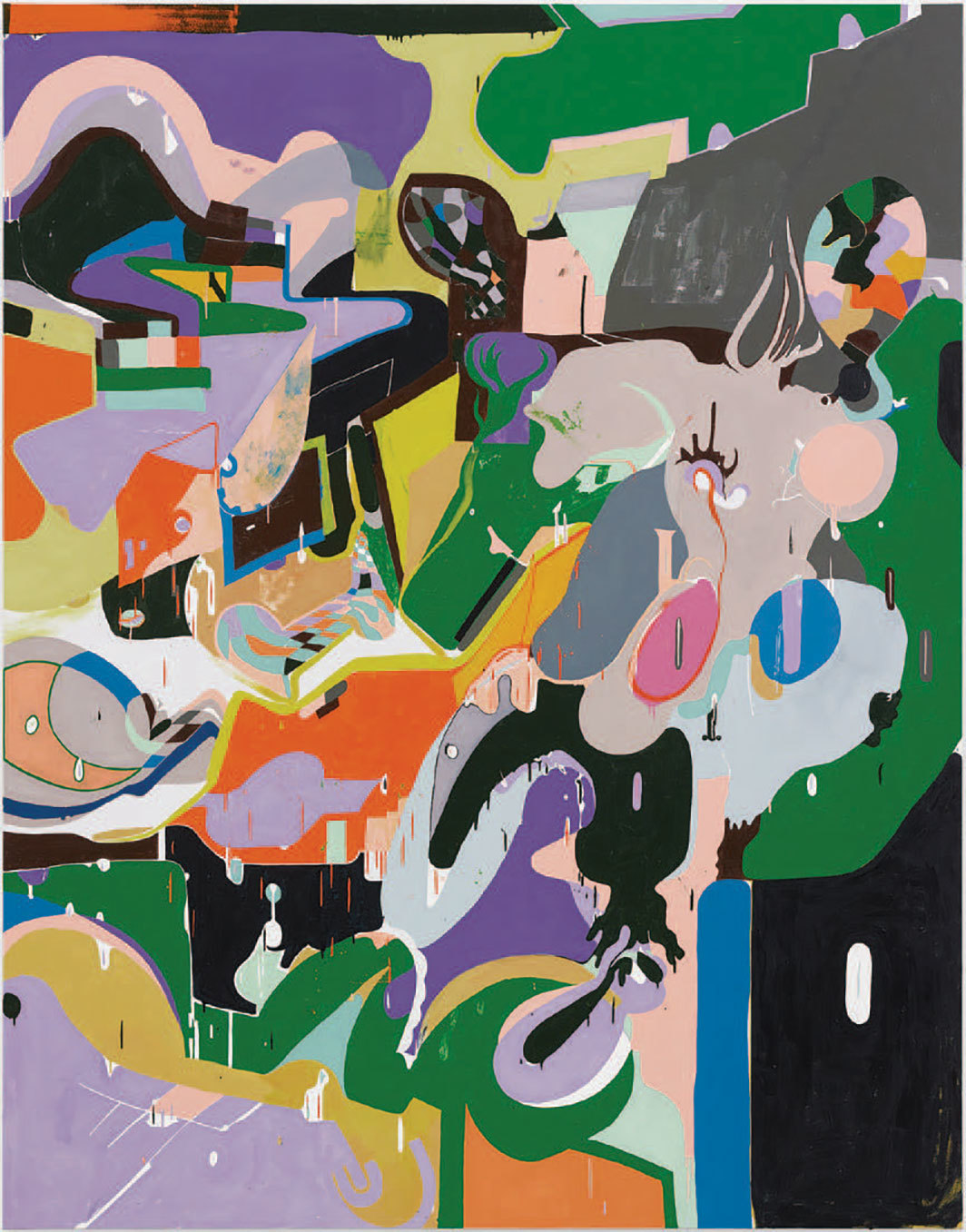 "Michael Williams, Cow in Computer Lab, 2019, oil on canvas, 100 1⁄4 × 78 1⁄8""."