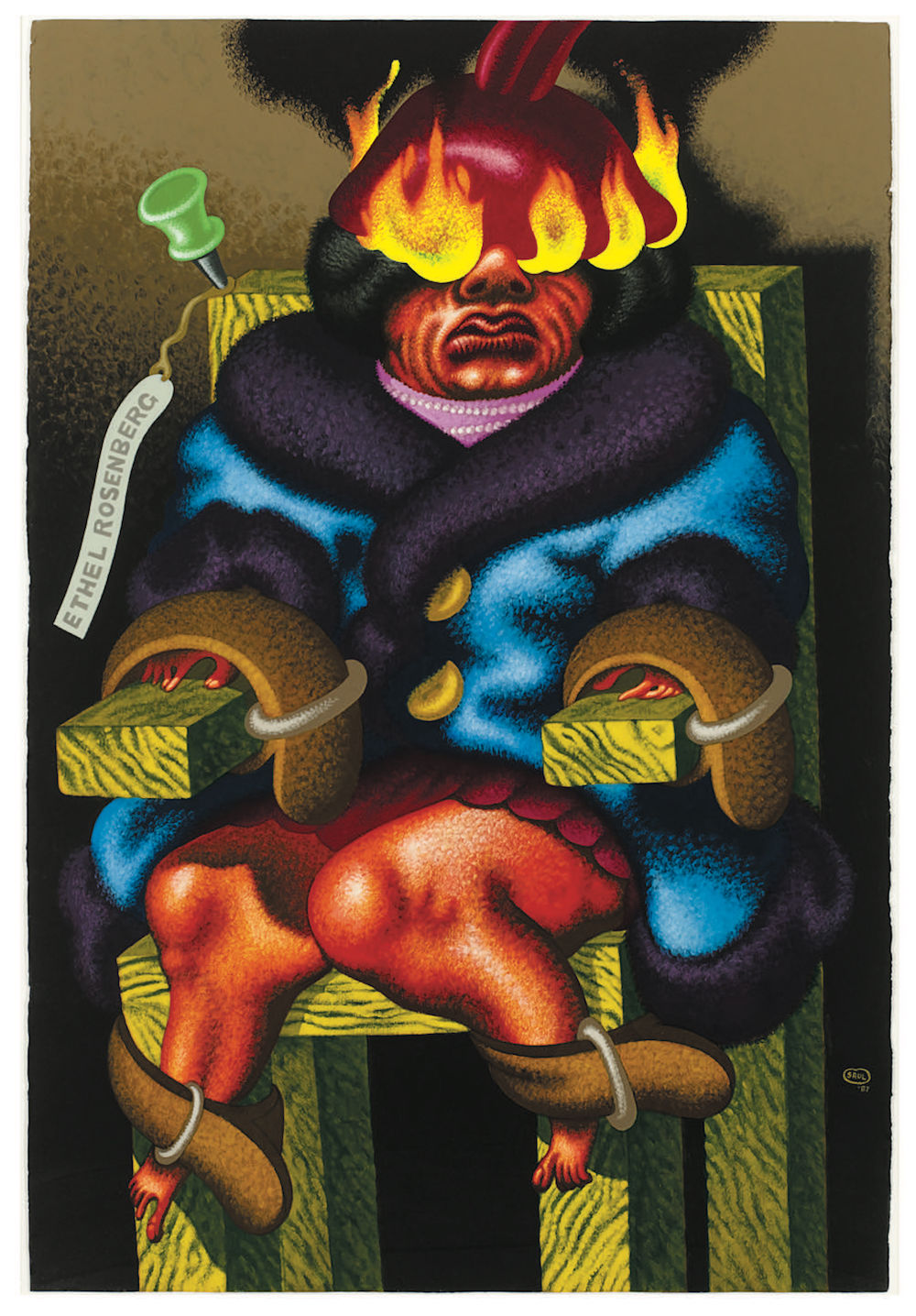 "Peter Saul, Ethel Rosenberg in Electric Chair, 1987, acrylic on paper, 60 x 40""."