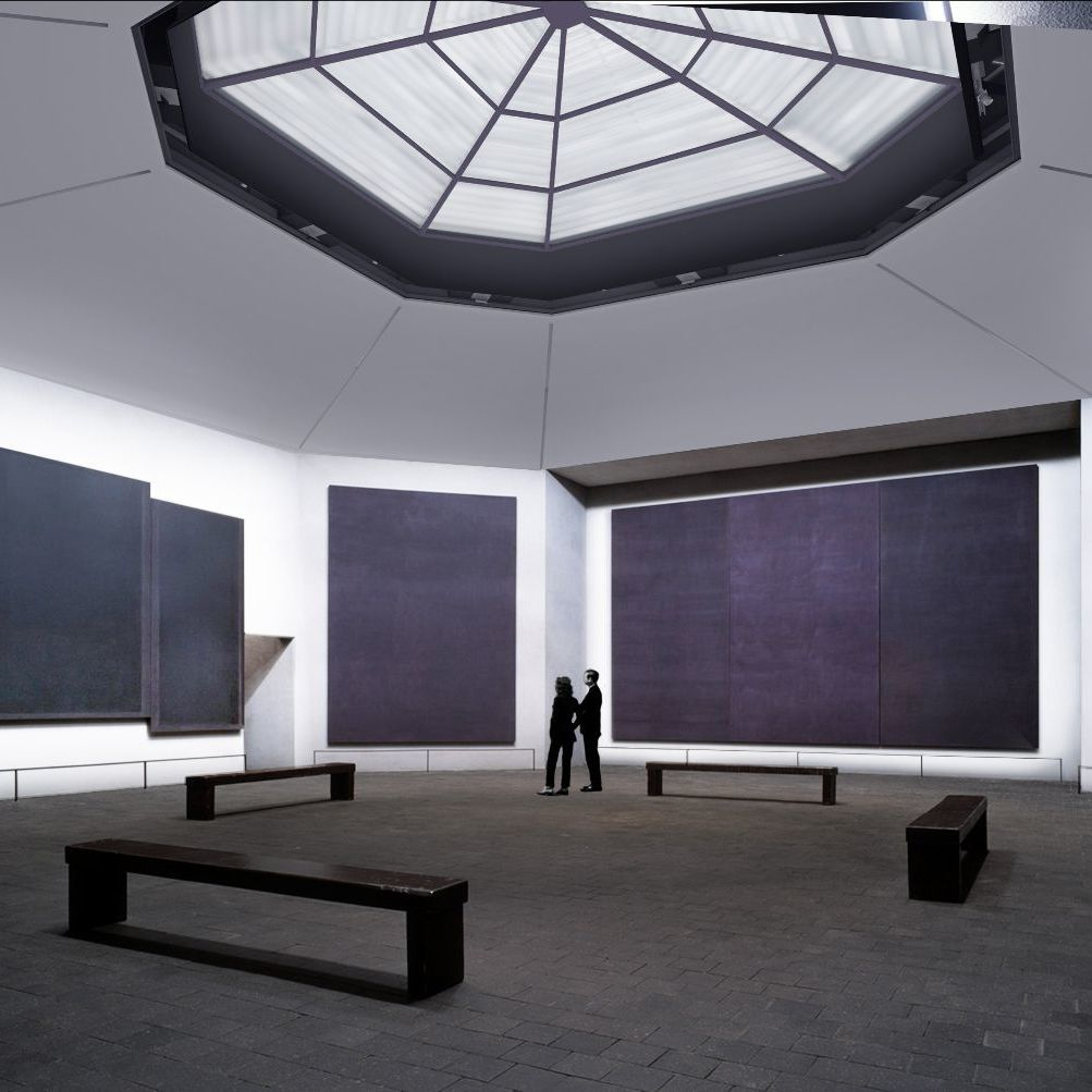 Interior of the Rothko Chapel, Houston. Rendering courtesy of Architecture Research Office.