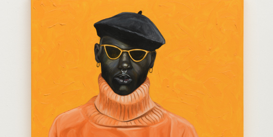 "Otis Kwame Kye Quaicoe, Orange Turtleneck, 2019, oil on canvas, 48 x 36""."