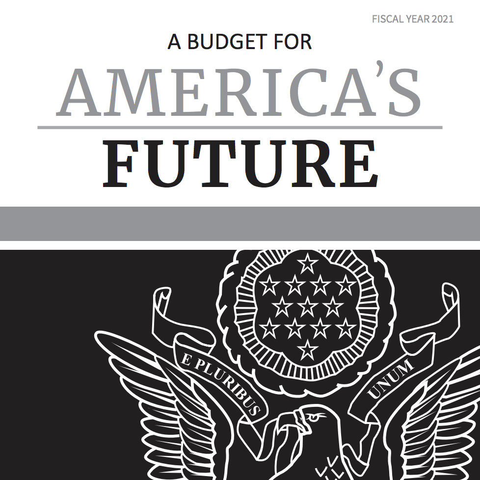 The cover of President Donald Trump's budget for the 2021 fiscal year.