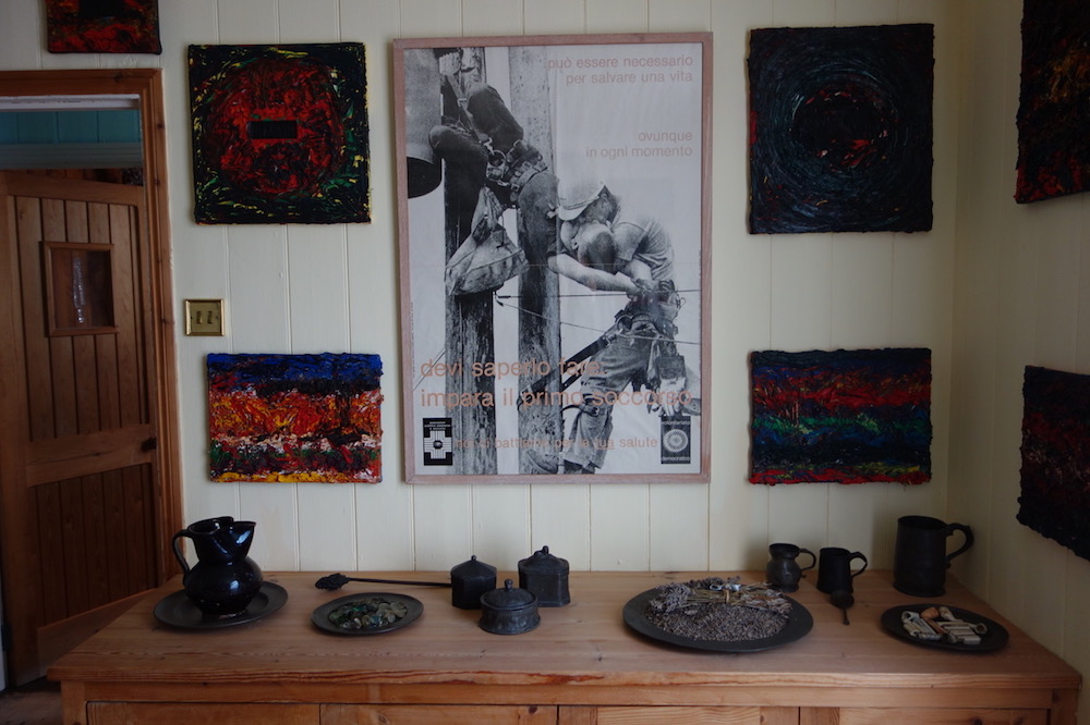 Jarman's paintings are on display throughout the cottage.