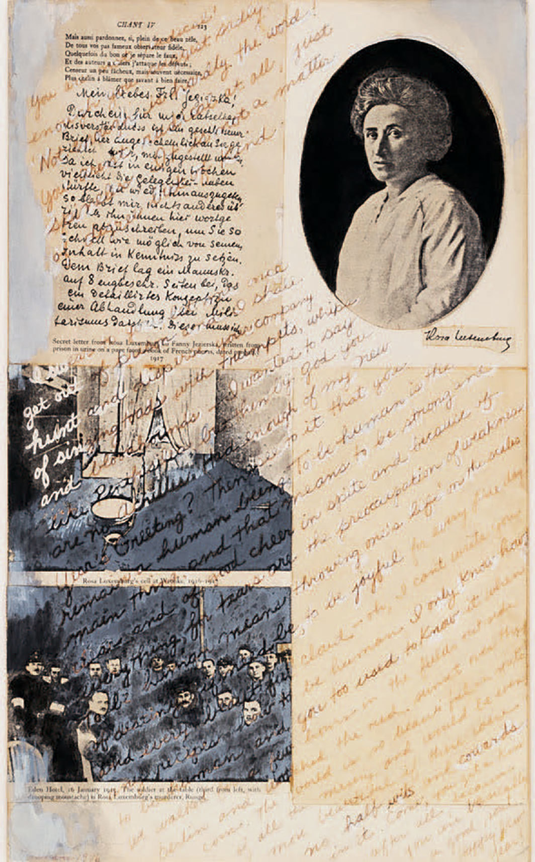 "May Stevens, Tribute to Rosa Luxemburg, 1976, collage, photostat, acrylic, and ink on paper, 16 1⁄2 × 10"". From the series ""Ordinary/Extraordinary,"" 1976–84. © The Estate of May Stevens."