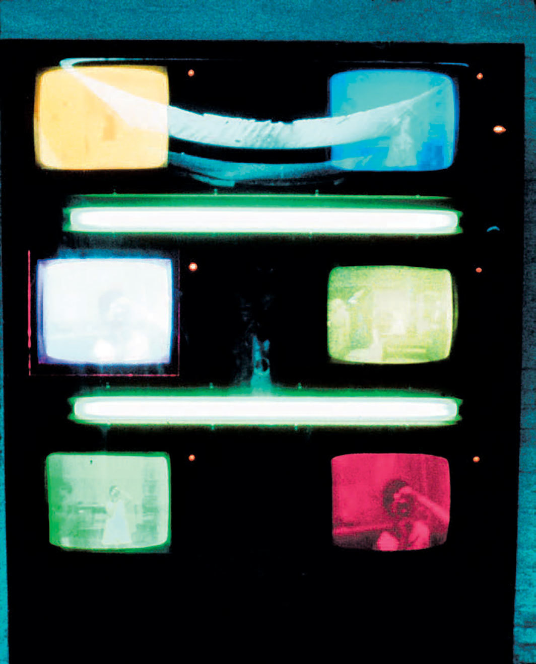 "Les Levine, Iris, 1968, three TV cameras, six monitors, closed-circuit system, two fluorescent tubes, console, 96 × 60""."
