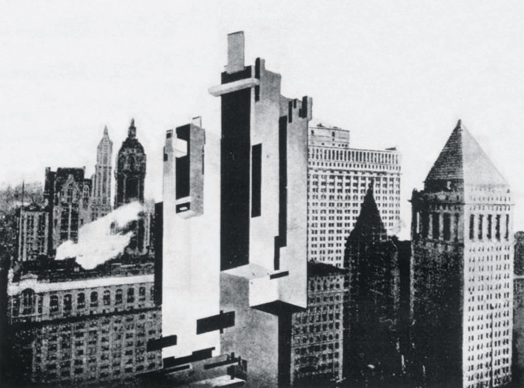 Kazimir Malevich, Arkhitekton A11 à Manhattan, no 1, 1926, collage. From Praesens, June 1926.