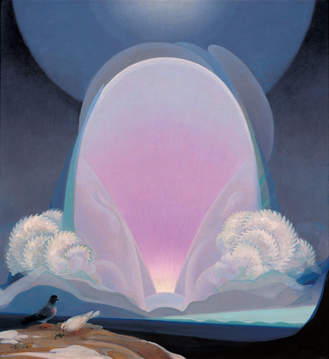 "Agnes Pelton, Winter, 1933, oil on canvas, 30 × 28"". Crocker Art Museum."