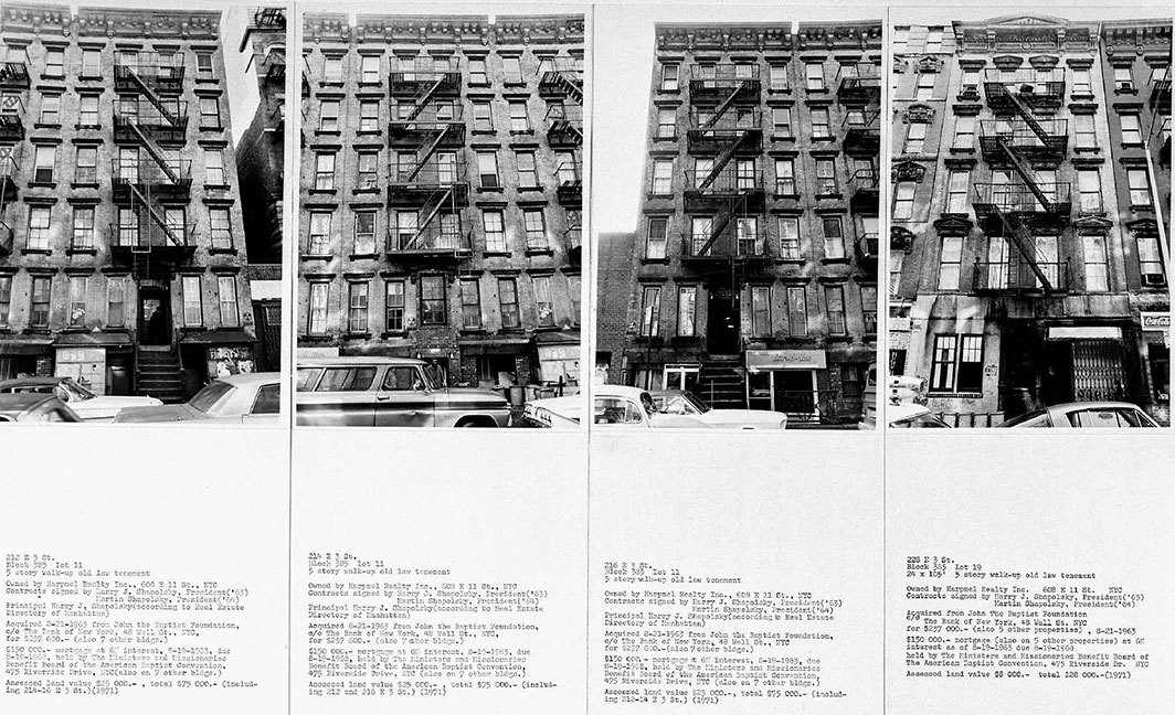 Hans Haacke, Shapolsky et al. Manhattan Real Estate Holdings, a Real-Time Social System, as of May 1, 1971 (detail), 142 gelatin silver prints, 142 typewritten cards, two city-map excerpts, six charts, dimensions variable. © Hans Haacke/Artists Rights Society (ARS), New York/VG Bild-Kunst, Bonn.