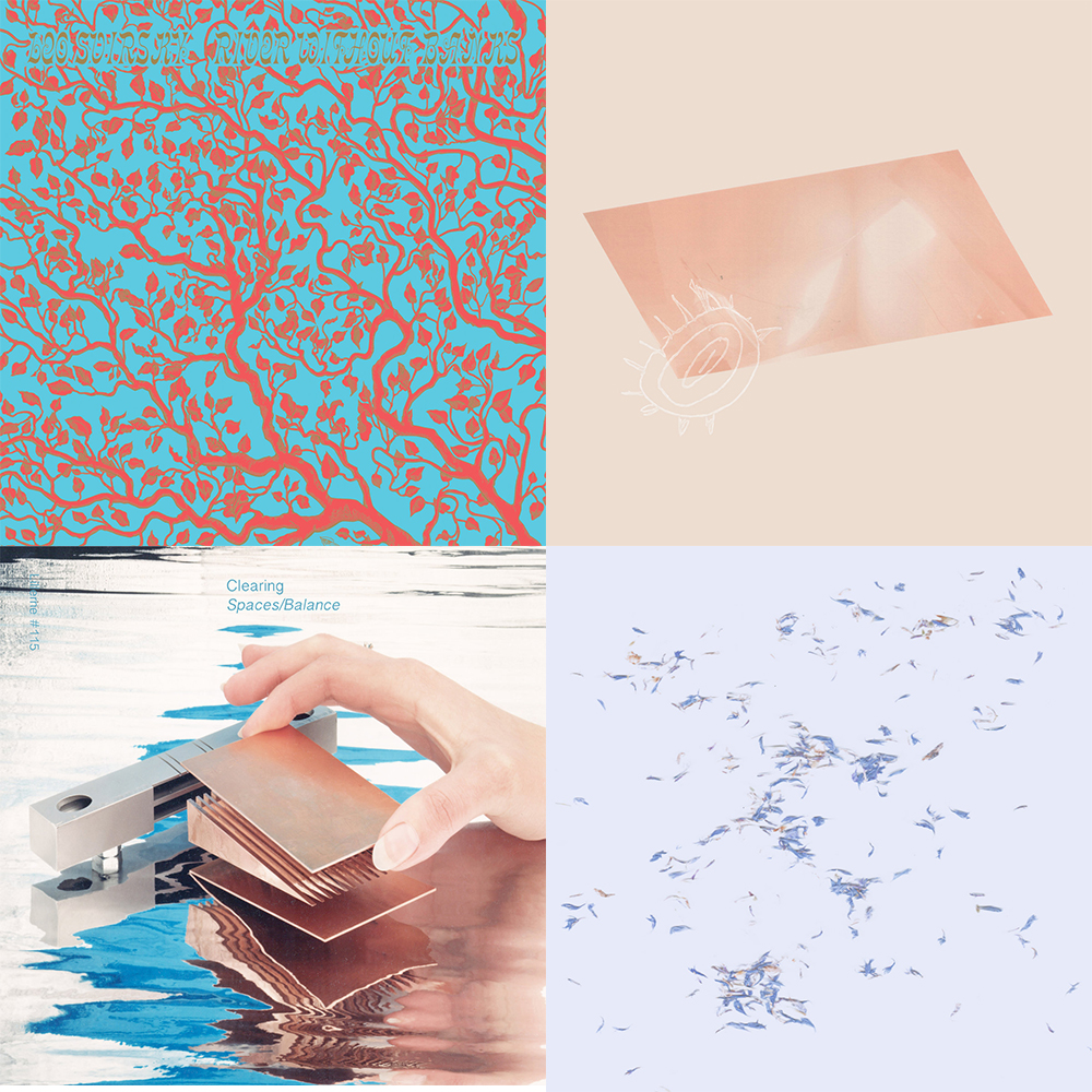 Covers, clockwise from left: Leo Svirsky's River Without Banks (Unseen Worlds, 2019); Ulla Straus's Big Room (Quiet Time, 2019); Clearing's Spaces/Balance (Lillerne Tapes, 2019); Ulla's Tumbling Towards a Wall (self-released, 2020).