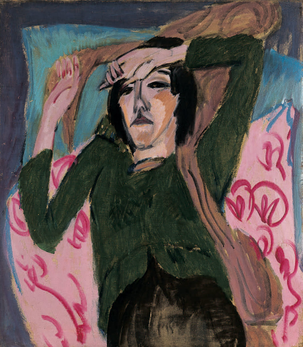 "Ernst Ludwig Kirchner, Woman in a Green Jacket, 1913, oil on canvas, 31 5⁄8 × 27 5⁄8""."
