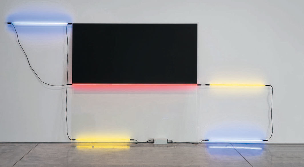 "Keith Sonnier, Ba-O-Ba Nice II, 1977/2018, neon, glass, paint, wire, transformer, 6' 11 1⁄2"" × 14' 8"" × 11"". From the series ""Ba-O-Ba,"" 1969–."