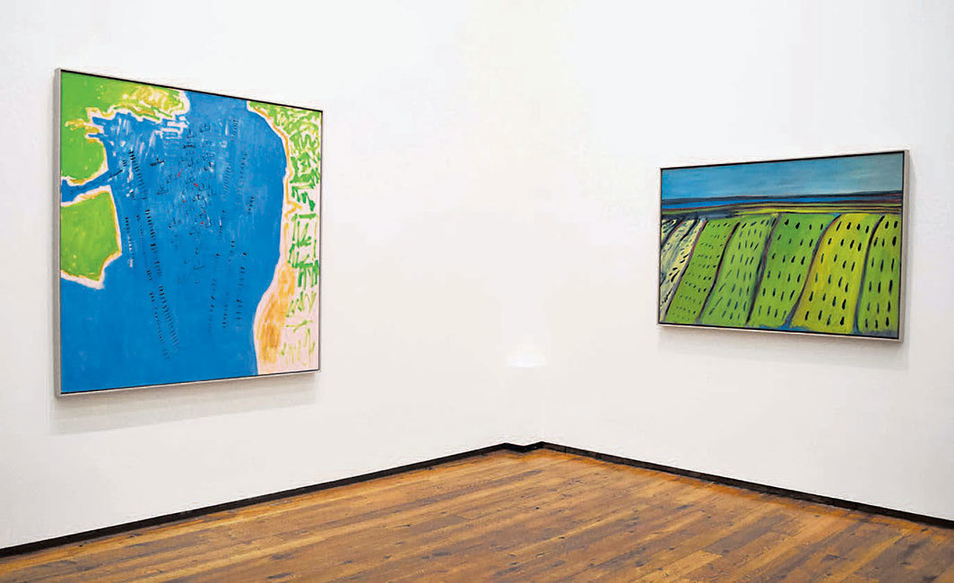 "View of ""Elizabeth Enders,"" 2019–20. From left: Battle of Lepanto 1571, 2019; Untitled—Fields, 2019."