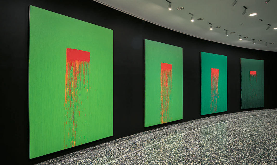 "View of ""Pat Steir,"" 2020. From left: Eleven, 2018–19; Twelve, 2018–19; Thirteen, 2018–19; Fourteen, 2018–19."