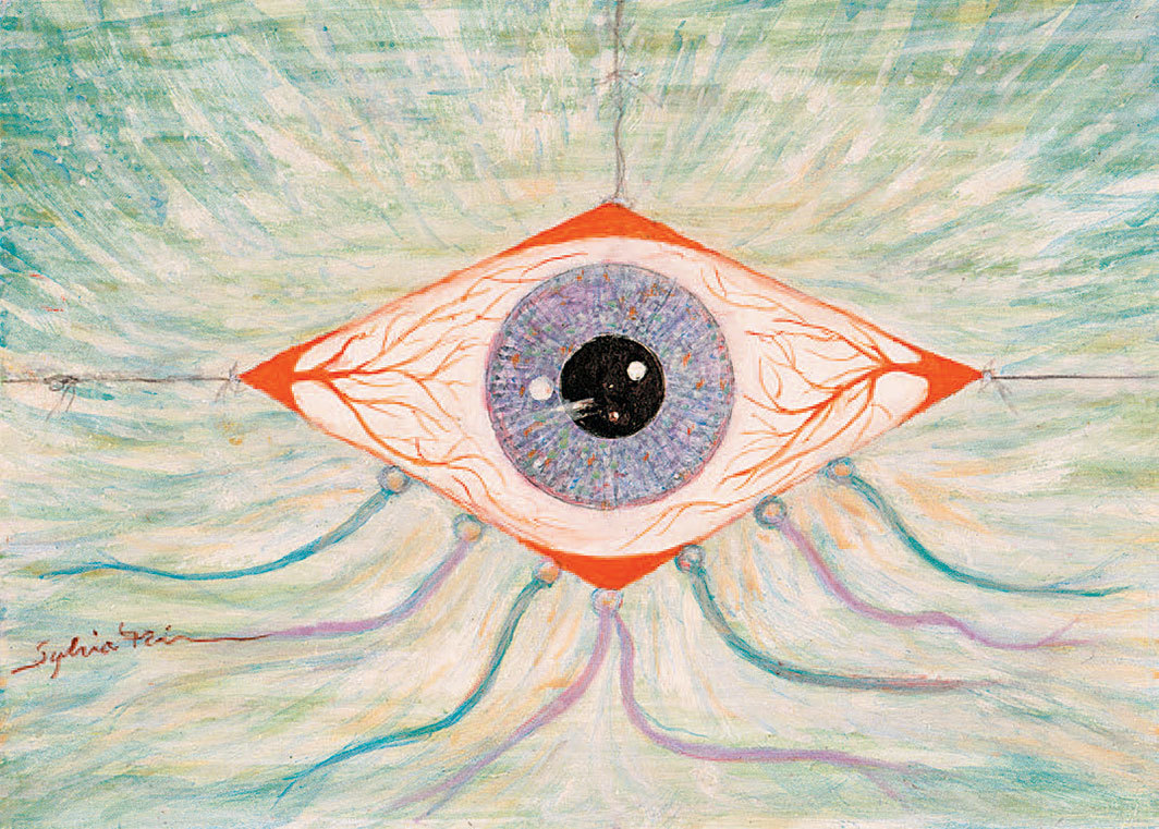 "Sylvia Fein, Kite Eye (or Eye Kite), 2006, egg tempera on board, 5 × 7""."