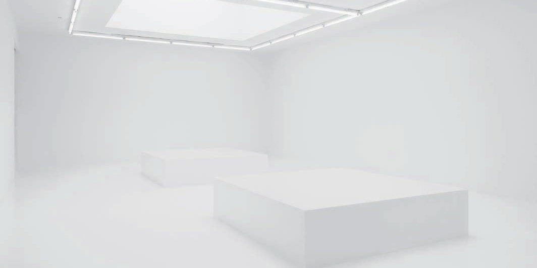 Jónsi, Hvítblinda (Whiteout), 2019, twelve-channel sound installation (20 minutes), ten speakers, two subwoofers, aluminum, LED lighting, ozone scent. Installation view.