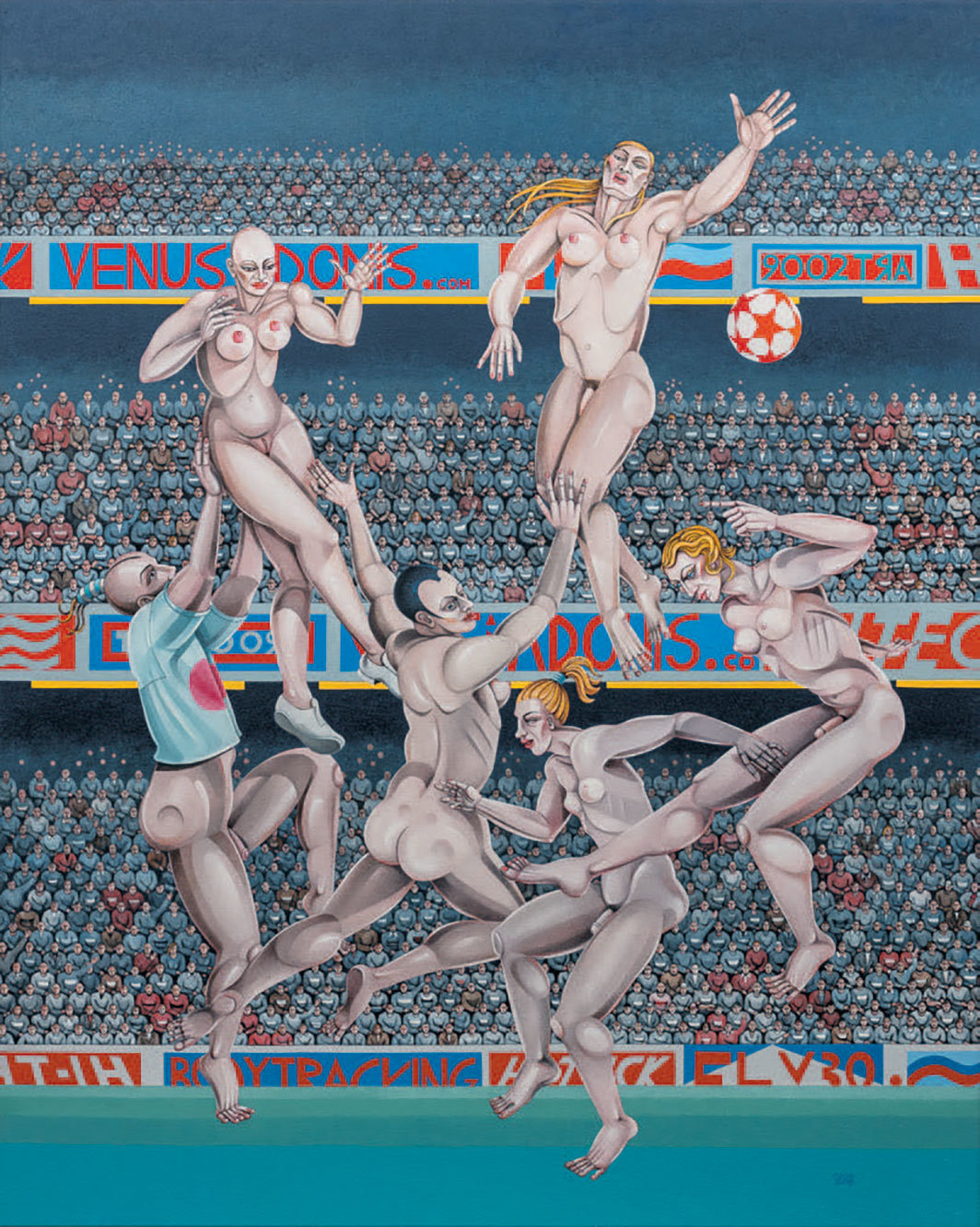 "Caroline Coon, A Sweet Lob from 25 Yards, 2009, oil on canvas, 60 1⁄4 × 48""."