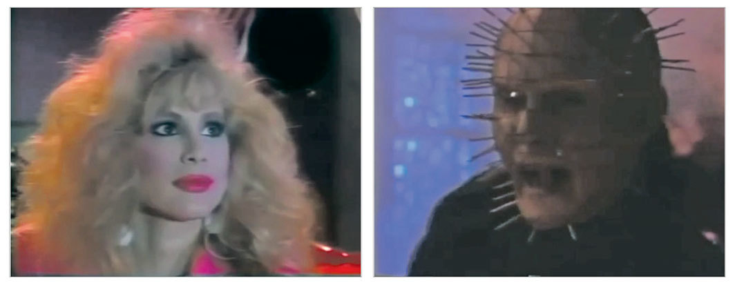 *_USA Up All Night,_ 1989–98,* two stills from a public-access cable TV show on the USA Network. Season 4, episode 73. Rhonda Shear. Pinhead (Doug Bradley).